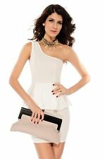 2013 Fashion Women Sexy One Shouler Peplum Dress Casual Style Double-layer White