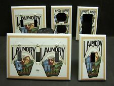 LAUNDRY BASKET LAUNDRY ROOM DECOR LIGHT SWITCH OR OUTLET COVER V046