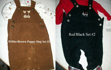 * NWT NEW BOYS CARTERS 2PC Overalls DOG OR Train winter OUTFIT SET NB 3M
