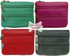 Ladies Quality Soft Leather Top Zip Coin Purse with 2 Front Zips in 4 colours