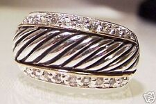 925 Sterling Silver with CZS Swirl  Band Ring