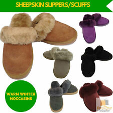 100% Australian Sheepskin Moccasin Slippers Winter Genuine Scuffs Unisex Slip On