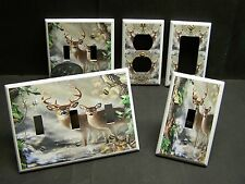 OAK LEAVES DEER BUCK & DOE RUSTIC DECOR LIGHT SWITCH OR OUTLET COVER V558