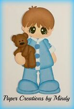 Sleepytime Boy Bear  premade paper piecing for scrapbooks pages embellishment