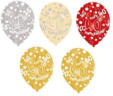 6 X WEDDING ANNIVERSARY BALLOONS 25 30 40 50 60  HELIUM OR AIR FILL DECORATIONS
