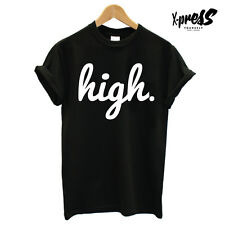 HIGH T SHIRT PRINTED MENS BLACK TEE HIPSTER SWAG STREET HYPE RELIGION DOPE COOL