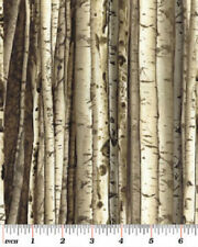 Tree Bark Fabric Tan Birch Forest Logs Woods Realistic Nature Landscape