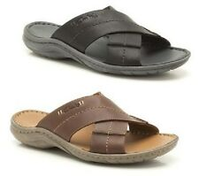 MENS CLARKS BLK,BRN LEATHER CASUAL STRAPPY SLIP ON SUMMER MULE WOODLAKE CROSS