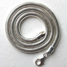 """Italian Solid Sterling Silver Snake Chain Necklace, Width 5mm, Length 16"""" to 24"""""""
