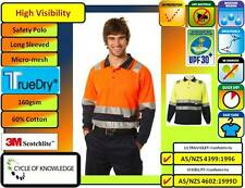 SW21 High Visibility Safety Workwear Long Sleeve Polo Shirt; 60% Cotton; 3M tape