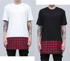 New Tartan Red Check Side Zip Long Length T-Shirt Plaid Black White