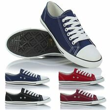 Ladies Womens Girls Slim Low Sole Canvas Lace Up Pumps Plimsolls Trainers Shoes