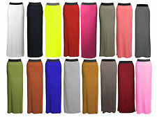 Women's Plain Gypsy Long Jersey Stretchy Maxi Dress Skirt Ladies Skirt Size 8-26