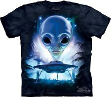 Just Visiting T-Shirt by The Mountain. Alien UFO Spaceship Tee S-3XL NEW