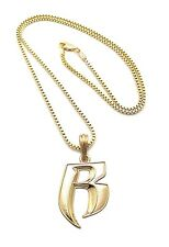 "NEW RUFF RYDER ""R"" PENDANT 2mm/24"" BOX CHAIN HIP HOP NECKLACE MSP324BX"