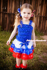 World Cup Baby Girl Royal Blue Ruffle Tank Top White Blue Red Ruffle Skirt NB-8Y