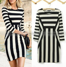 Womens Celebrity Black White Striped 3/4 Sleeve Bodycon MINI Dress F3402 GBW