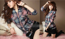 Women's Long Sleeve Plaid Blouse Shirt Check Casual Top Button Front A2350 GBW