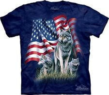 Wolf Flag T-Shirt by The Mountain. Patriotic American USA Flag 3 Wolf S-5XL NEW