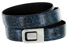 Mens Leather Dress Belt, Navy Blue Turtle with Nickel Plated Channel Buckle