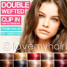 Deluxe Double Wefted Clip In Remy Human Hair Extensions Full Head Straight, Real