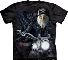 Bike Stryker T-Shirt by The Mountain. Eagle Biker Motorcycle Flag USA S-5XL NEW