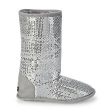 Girls Joe Boxer Sparkly Sequined House Slipper Boots – Silver Gray