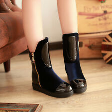 Ankle snow boot shiny patent zip inner elevator shoes winter wram wear XLLD46
