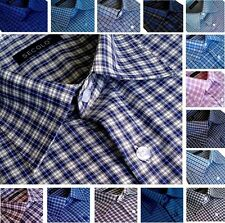Mens SECOLO Cotton Checked Shirt Classic Spread collar Formal Casual Long Sleeve