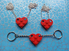 QUIRKY RED LOVE HEART KEYRING OR NECKLACE, MADE USING LEGO BRICKS, FRIENDS, GF