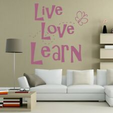 LIVE LOVE LEARN wall sticker lounge bedroom transfers quote decal art vinyl
