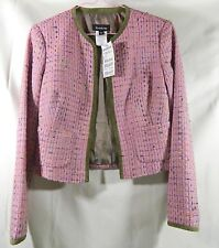 BEBE Women's Suit Mini Skirt & Jacket All Lined Pink Green Suede Edging SZ 0 NWT