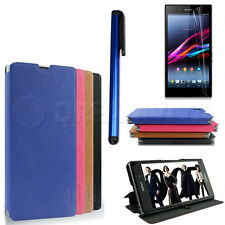 Luxury Twill Pu Leather Flip Cover Case For Sony Xperia Z1 L39h +Film+Stylus