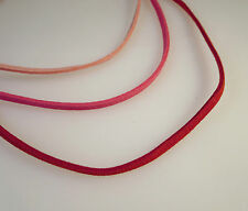 "PINK & RED SUEDE Leather Cord 14,16,18,20"" Necklace Sterling Silver Clasp NEW"