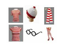 RED WHITE ADULTS CHILDRENS T SHIRTS HAT SCARF GLASSES SOCKS WHERES
