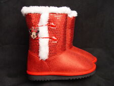 NEW Disney Red White MINNIE MOUSE SEQUIN BOOTS Faux Fur Sparkle Shimmer Shoe NWT