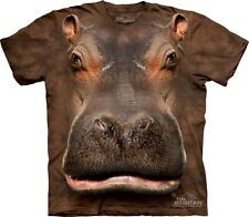 Big Face Hippo Head T-Shirt by The Mountain. Giant Cute Animals Sizes S-5XL NEW
