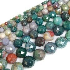 Natural India Agate Gemstone Faceted Round Beads 15'' 4mm 6mm 8mm 10mm 12mm 14mm