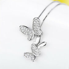 Allergy free s925Sterling Silver Charm Pendant Necklace Lovely Butterfly Family