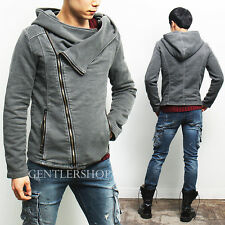 Avant-Garde Mens Vintage Style Off Center Denim Zip Up Hoodie, GENTLERSHOP