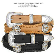 "Golden Texas Longhorn - Western Gold Steer Concho Leather Cowboy Belt, 1"" Wide"