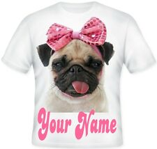 TOP Kids GIRLS Personalised Cute Princess PUG DOG Puppy with PINK Bow T Shirt