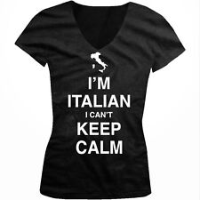 Im Italian I Cant Keep Calm Carry On Parody Italy Guido Juniors V-neck T-shirt