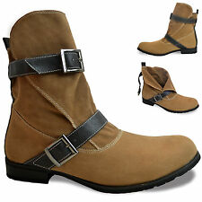 Mens New Camel Brown Buckled Hi Ankle Fashion Biker Unbranded Boots Size Uk 7-11