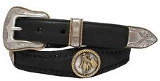 Mens Western Barrel Rodeo Racer Rope Edge Concho Leather Cowboy Belt Black Brown