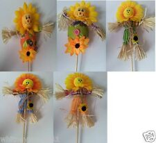 Straw Scarecrow On Wooden Stick Easter, Cake or Floral Decoration