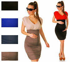 Happy Mama Women's Maternity Bodycon Jersey Dress Fits Bigger Busts Ladies 043p