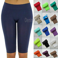 Basic Solid Seamless Soft Yarn Yoga Skinny Bermuda Length Leggings One Size