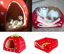 Soft Strawberry Pet Dog Cat Bed House Kennel Doggy Warm Cushion Removal Basket