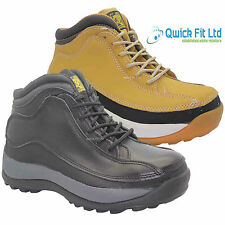 MENS LEATHER SAFETY BOOTS STEEL TOE CAP ANKLE WORK LADIES SHOES SIZE 3 -12 UK